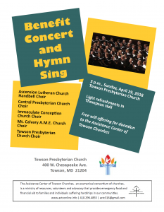 ACTC Benefit Concert and Hymn Sing @ Towson Presbyterian Church | Towson | Maryland | United States