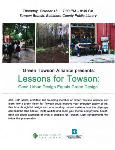 Green Towson Alliance presents: Lessons for Towson @ Towson Library | Towson | Maryland | United States