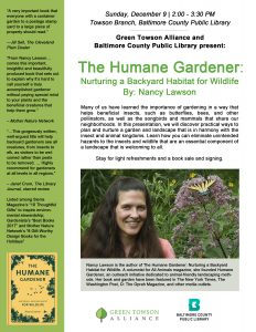 The Humane Gardener: Nurturing a Backyard Habitat for Wildlife @ Towson Library | Towson | Maryland | United States
