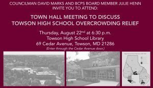 Town Hall Meeting to Discuss Towson High Overcrowding Relief @ Towson High School Library | Towson | Maryland | United States