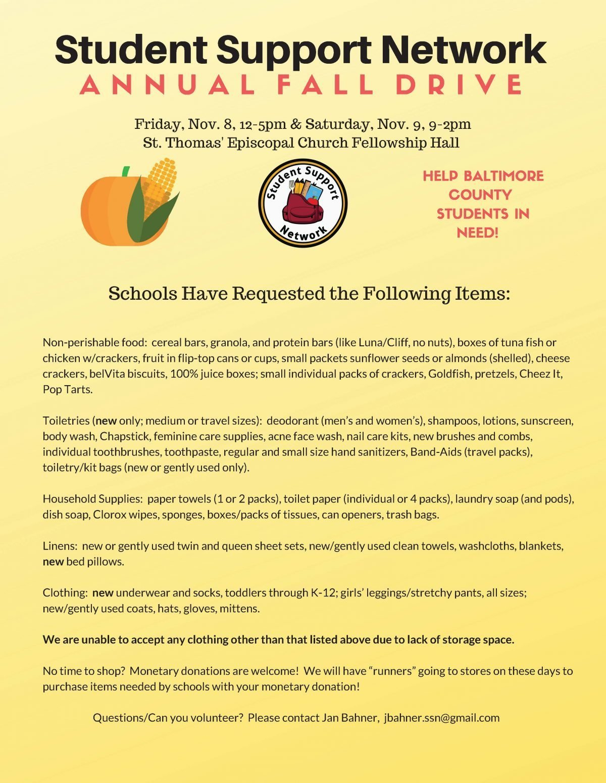 Student Support Network Annual Fall Drive 2019